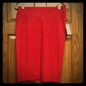 LuLaRoe Cassie skirt red polka dot